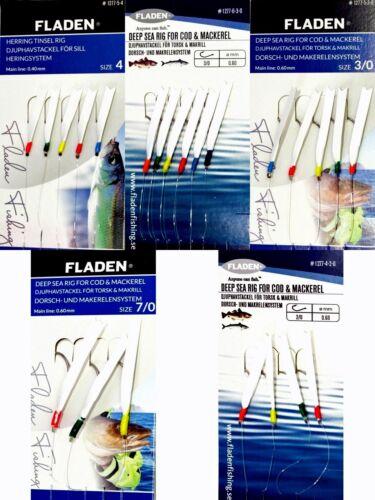 5 Packs Fladen Daylight Fishing Mackerel Feathers Lures Sea Pollack Mixed Sizes