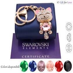 Schlüsselanhänger Gold Frau Swarovski Elements Original G4Love Kristalle Katze