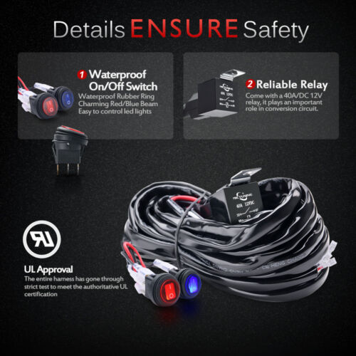 Waterproof 12ft 2-Circuit 16AWG LED Light Bar Wiring Harness Kit 40A Fuse Relay