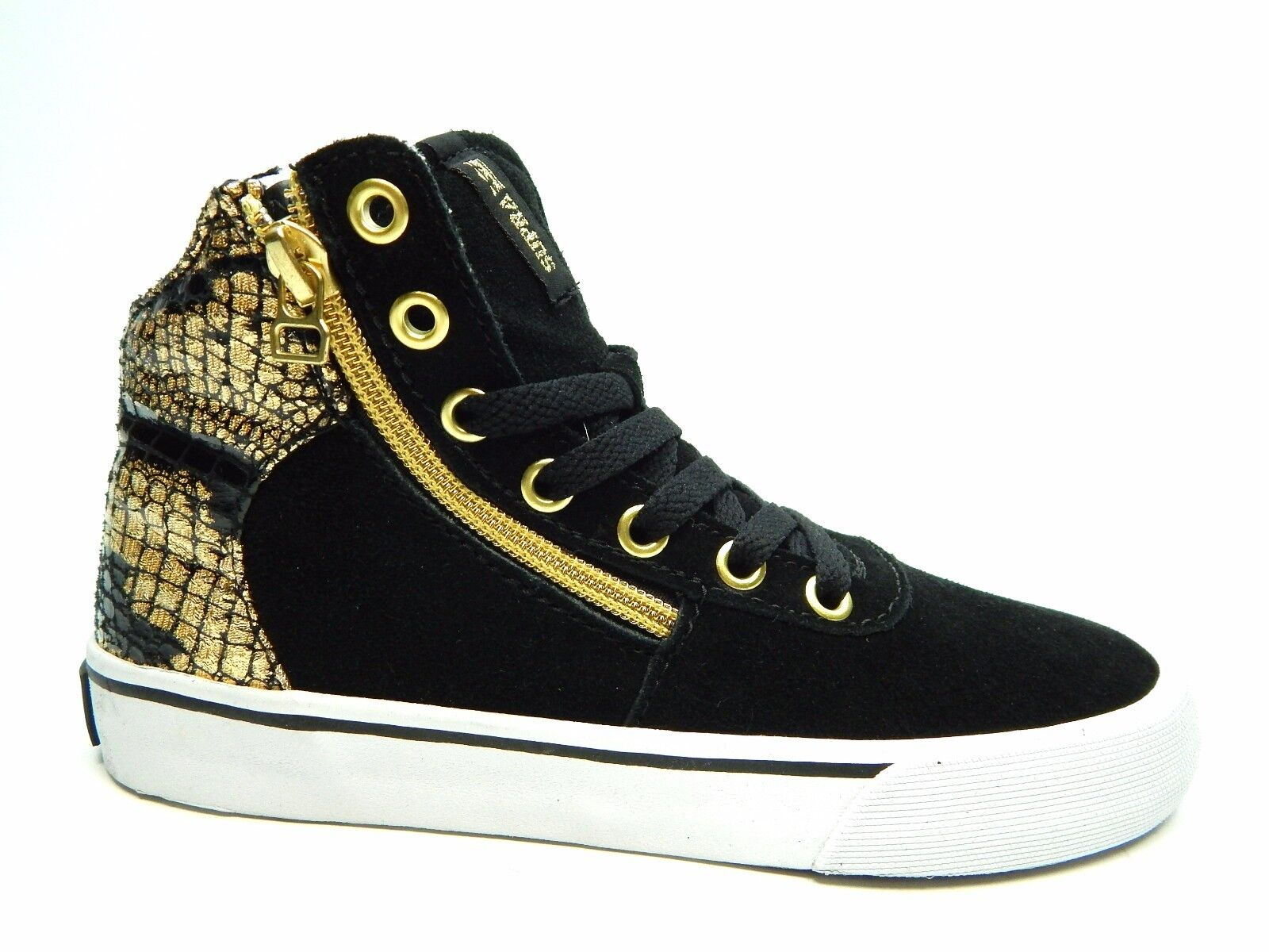 SUPRA CUTTLER BLACK GOLD WHITE SW35010 WOMEN SHOES SIZE 5