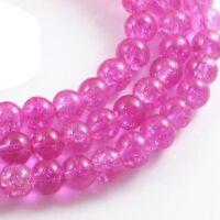 Round Glass Crackle Beads-FUCHSIA PINK  6mm (100)