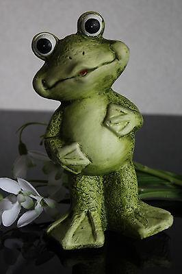 deko Frosch aus Keramik stehend Figur Skulptur Balkon Garten 15,5cm Motiv B