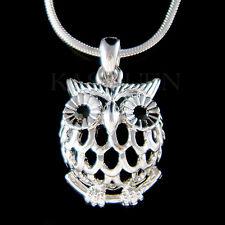 w Swarovski Crystal ~Cut out Owl~ Wise Teacher Bird Charm Chain Necklace Jewelry