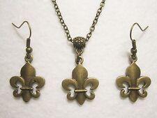 Ohrringe Kette Fleur De Lis Metall templerlilie lys königs ritter lilie bronze