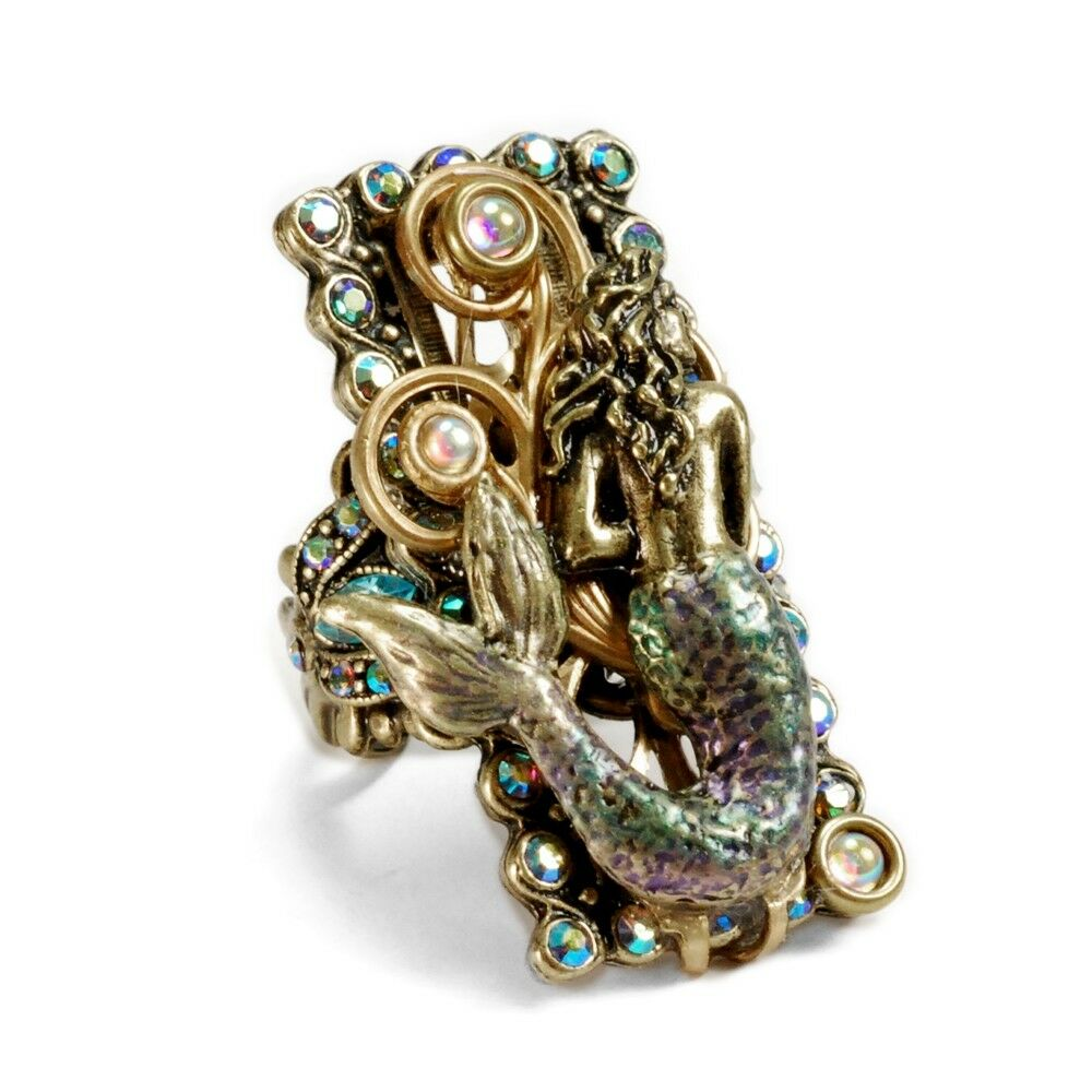 NEW SWEET ROMANCE FLOATING MERMAID ADJUSTABLE RING BIG & BOLD MADE IN USA