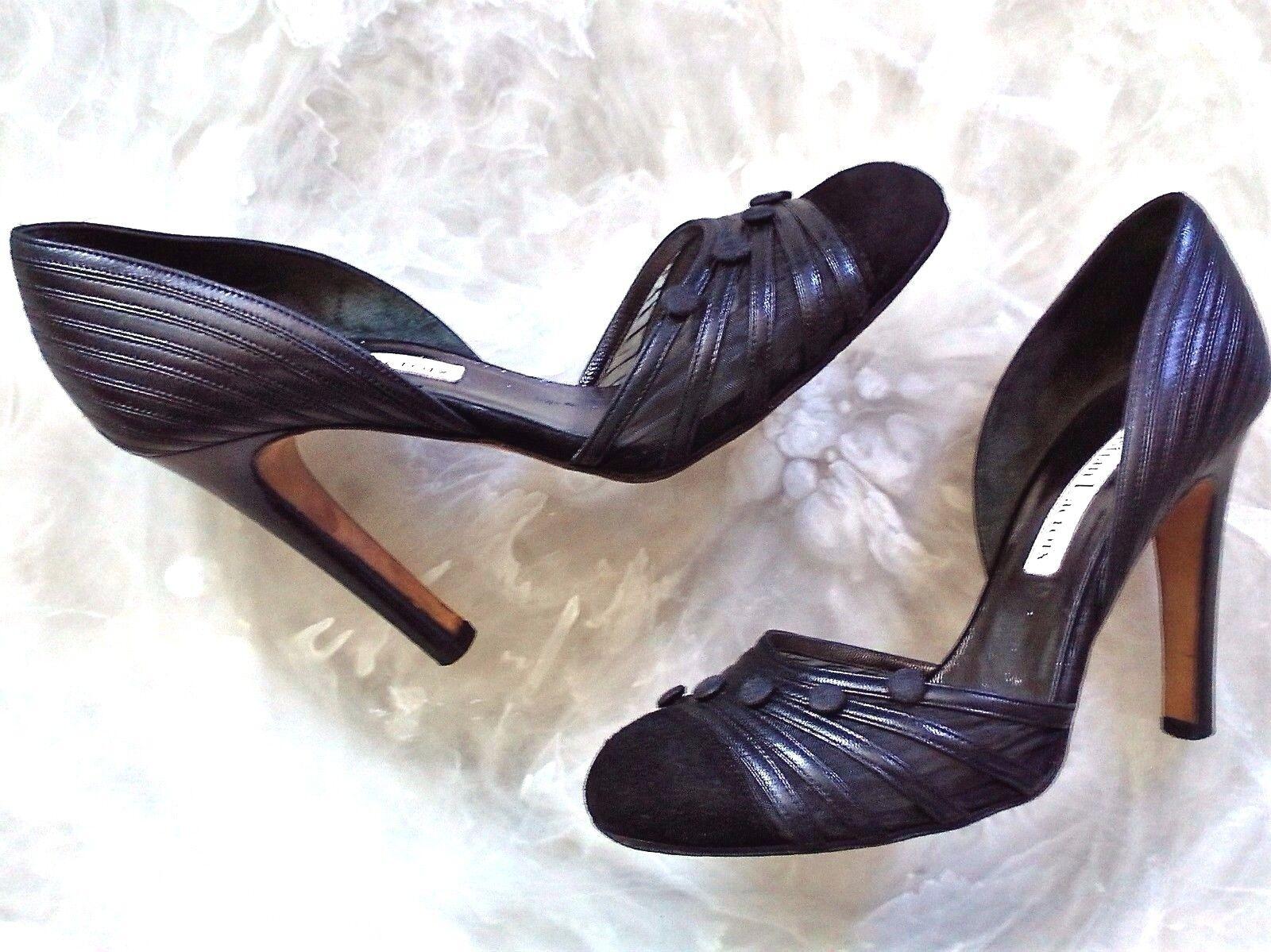 Christian Lacroix Femme 8 M cuir noir surpiqûres Cap Toe d'Orsay Pompes