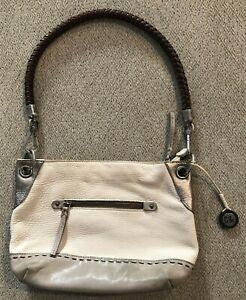 Women-039-s-THE-SAK-Beige-Gray-Leather-Shoulder-Bag-Purse-Handbag-12-034-x-9-034