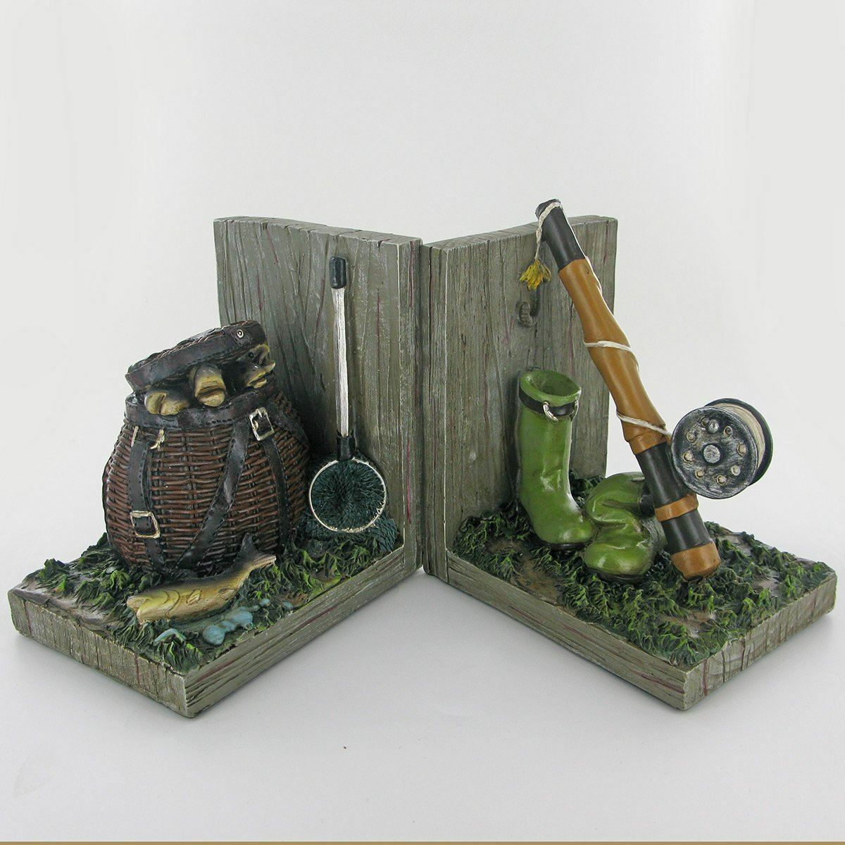 Fishing Bookends Fisherman Book Ends Decorative Bookshelf Display Organizers