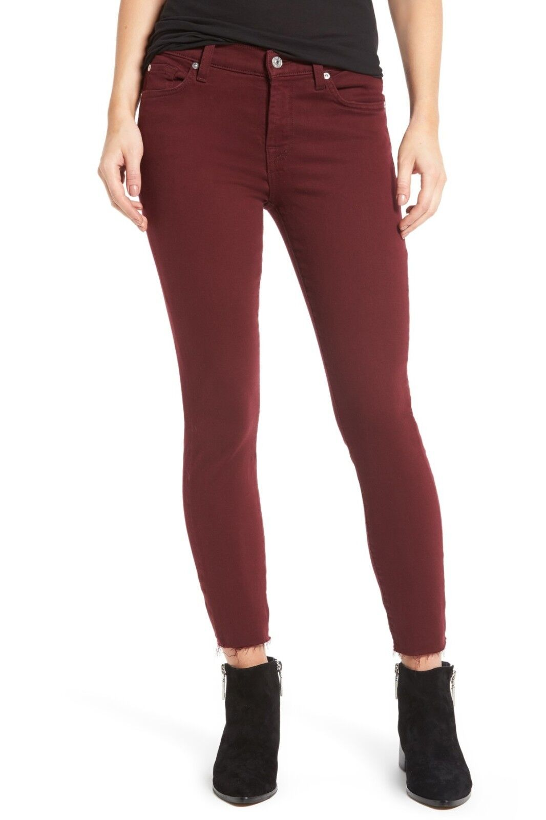199 NWT 7 FOR ALL MANKIND Sz26 THE ANKLE MIDRISE SKINNY RAW HEM JEANS MERLOT