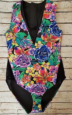 New Ex Branded Neoprene Fiesta Floral Fishnet Insert Zip Swimsuit SE26 Holiday