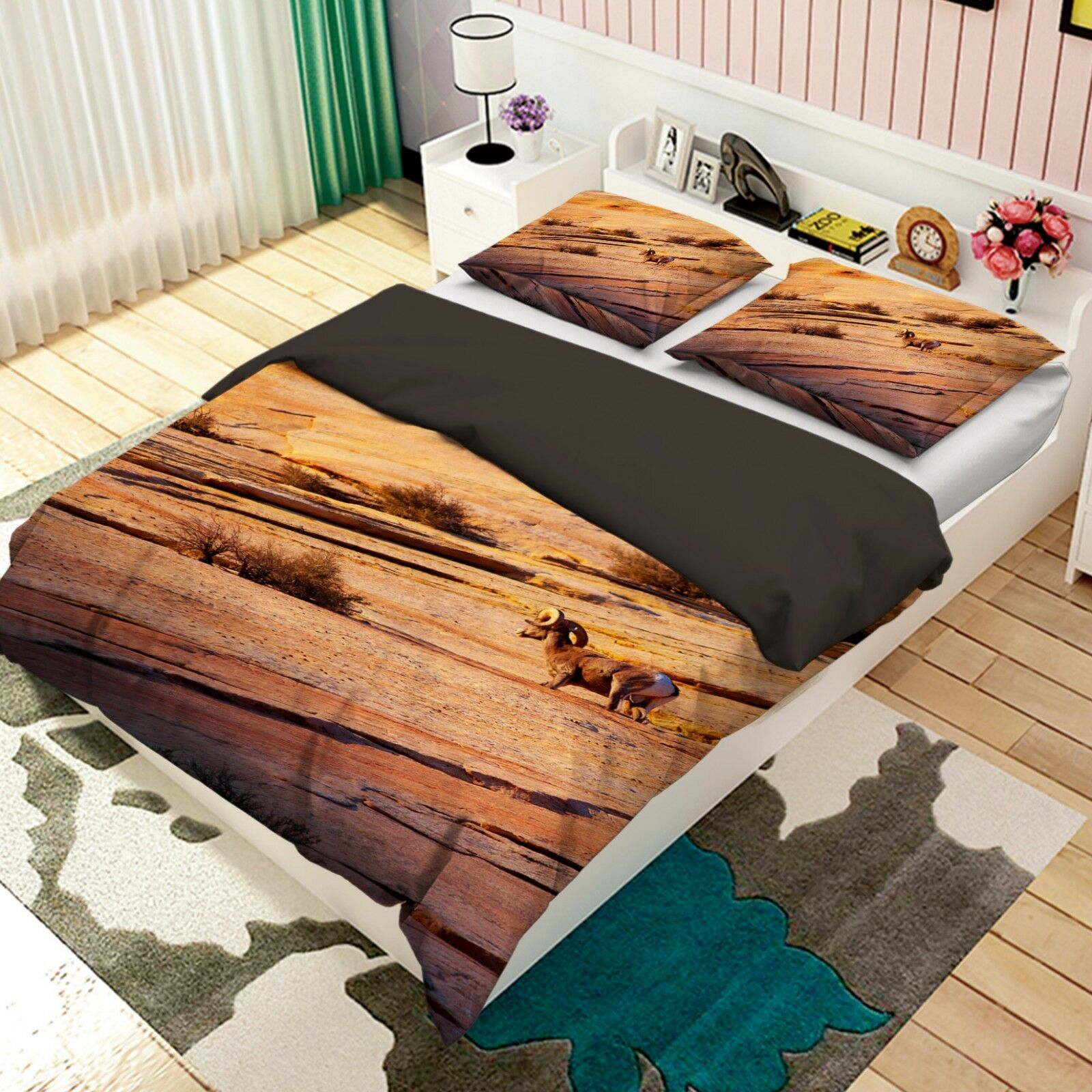 3D Tibetan Antelope 3 Bed Pillowcases Quilt Duvet Cover Set Single Queen King