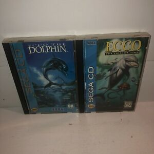 SEGA-CD-2-Game-LOT-Ecco-the-Dolphin-1-amp-2-Tides-Of-Time-Complete-CIB-TESTED-FUN