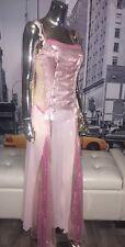 VICTORIA'S SECRET Romantic Pink 100% Silk RIBBON LACE-UP Maxi Nightgown Sz M��
