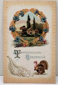 Thanksgiving-Greetings-Embossed-1910-to-Frankstown-Pa-Postcard-D12