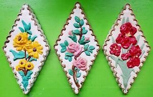 Vintage Mid Century 60s 70s Colorful Chalkware Ceramic Flower Wall Hangings Art