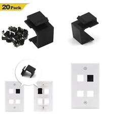 VCE 20-Pack Blank Keystone Jack Inserts for Wall Plate-Black