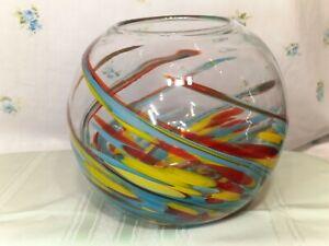 Art Glass Studio Hand Blown Murano Style Vase 8 x 8 Fish Bowl Vase Multicolored