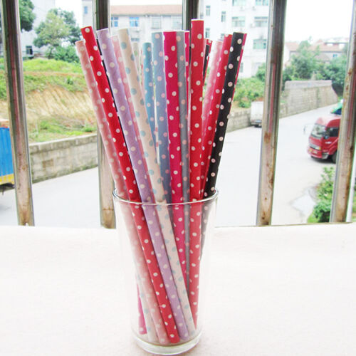 25 PCS Colorful Small Polka Dot Paper Drinking Straws For Wedding Birthday Party