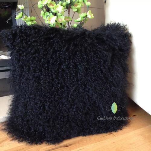 BLACK 40x40CM GENUINE MONGOLIAN SHEEPSKIN LAMB WOOL FUR CUSHION DUCK FEATHER PAD