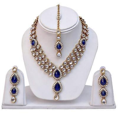 Indian Bollywood Jewelry Wedding Bridal Gold Kundan Necklace Set Tikka 4P Pink