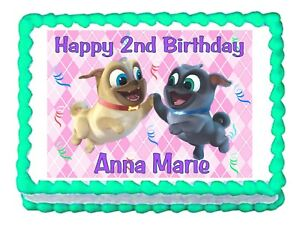 Puppy Dog Pals Pink Edible Cake Image Cake Topper Frosting