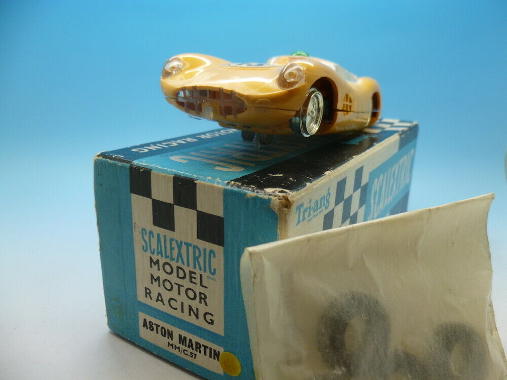 Scalextric C57 Aston Martin in yellow, super car and boxed