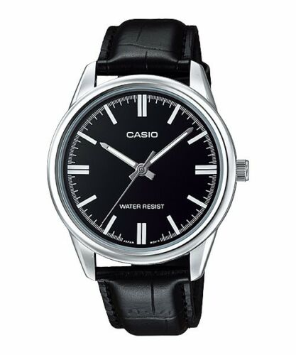 1 of 1 - MTP-V005L-1A Black Casio Men's Watches Analog Genuine Leather Band Brand-New