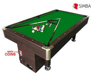 Billard Americain 8 Ft Table De Pool Snooker Avec Monnayeur Mod. Zeus