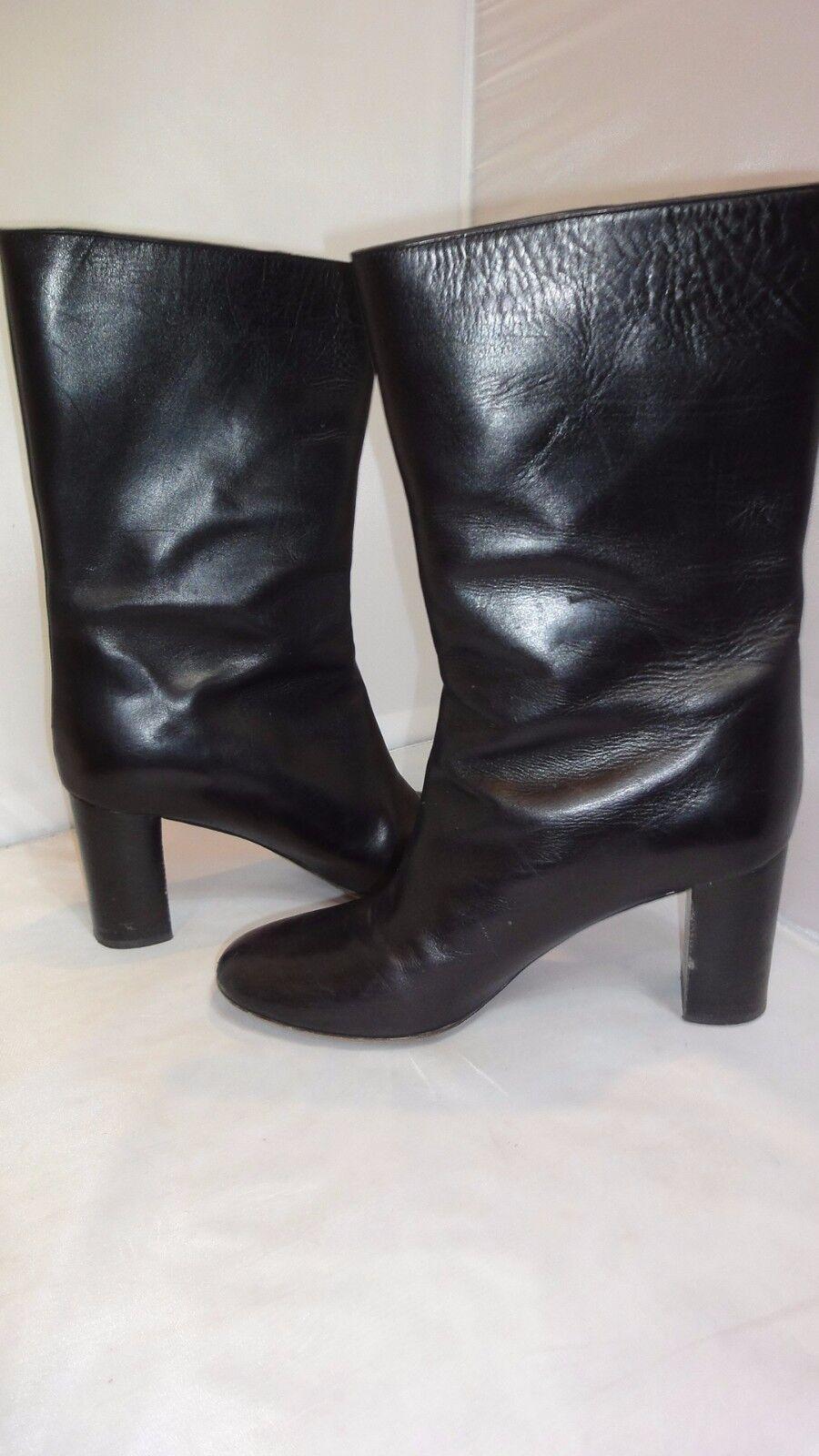 CHLOE Black Mid-Calf Mid-Calf Mid-Calf Black Leather Boots Sz 8.5 a372cf
