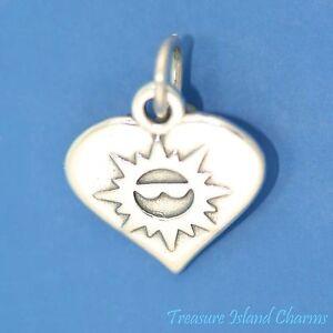 Coeur avec Sun Visage Lunettes de soleil de l/'été 925 Solid Sterling Silver Charm Pendentif