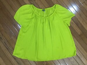 Vince-Camuto-Women-s-Green-Scoop-Neck-Pleated-Top-Blouse-Size-L