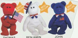TY Beanie Babies BABY BEAR Thomas - Benjamin - John  Set of ALL THREE Presidents