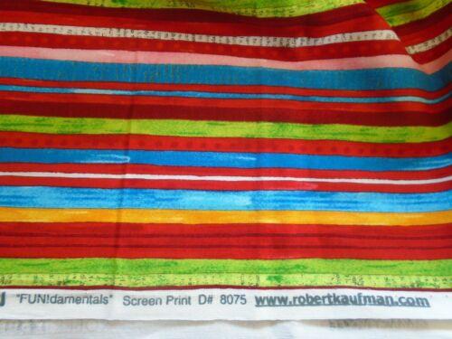 "44/"" wide 1//4 yd. Robert Kaufman Fundamentals bright multicolor stripe cotton"