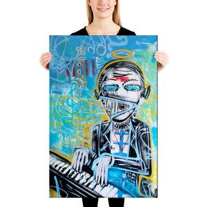 CANVAS-Street-Art-Graffiti-Face-Print-Wall-Pop-Modern-Words-Abstract-Spray-Paint