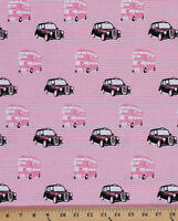 Cotton London Taxis Trolleybus Pink Cotton Fabric Print By The Yard D481.01