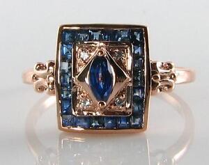 CLASSIC-9K-9CT-ROSE-GOLD-Sri-Lankan-BLUE-SAPPHIRE-amp-DIAMOND-ART-DECO-INS-RING