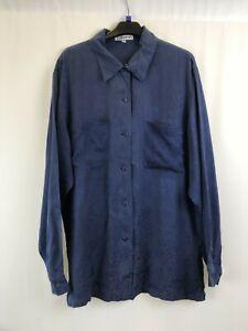 Olsen-Femmes-Shirt-a-Col-Bleu-Marine-Floral-Manches-Longues-Soie-Taille-38-uk12-003
