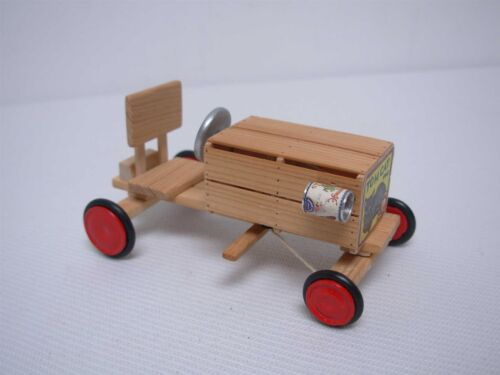 2000 ARTISAN SIGNED JRW DOLLHOUSE MINIATURE TOM CAT CRATE SOAP BOX DERBY CAR