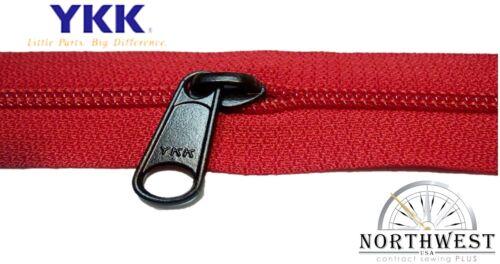 Genuine YKK Nylon Coil Zipper Tape # 5 Red 5 yards with 10 Black Sliders