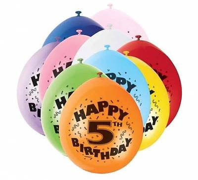 5th HAPPY BIRTHDAY BALLOONS pack of 10 - AGE 5  BIRTHDAY PARTY BALLOONS