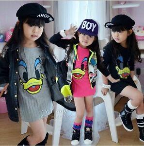 New Kids Toddlers Girls Fashion  Donald Duck Image Knitwear long Shirt Tops S521