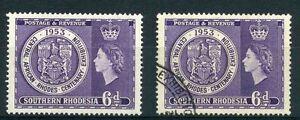 S-rhodesia-1953-qe11-Rhodes-centenaire-SG-76-neuf-sans-charniere-amp-fine-utilise-2