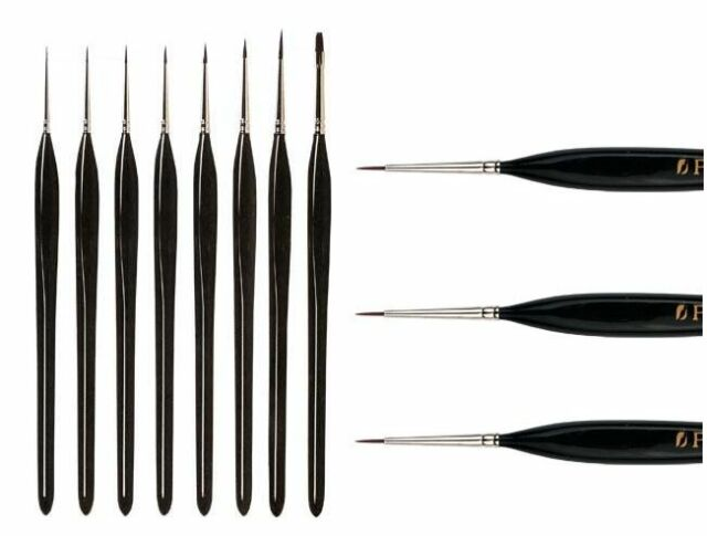 SET OF THREE 10/0 PRO ARTE MINIATURE INTRICATE EXTRA FINE DETAIL PAINT BRUSHES