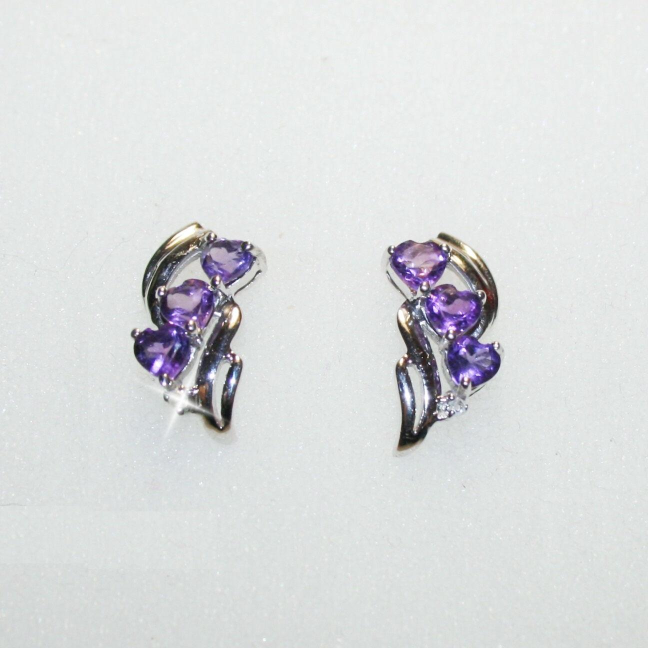 Triple Purple Amethyst Heart Diamond Dangle Earrings 14k White gold Over 925 SS