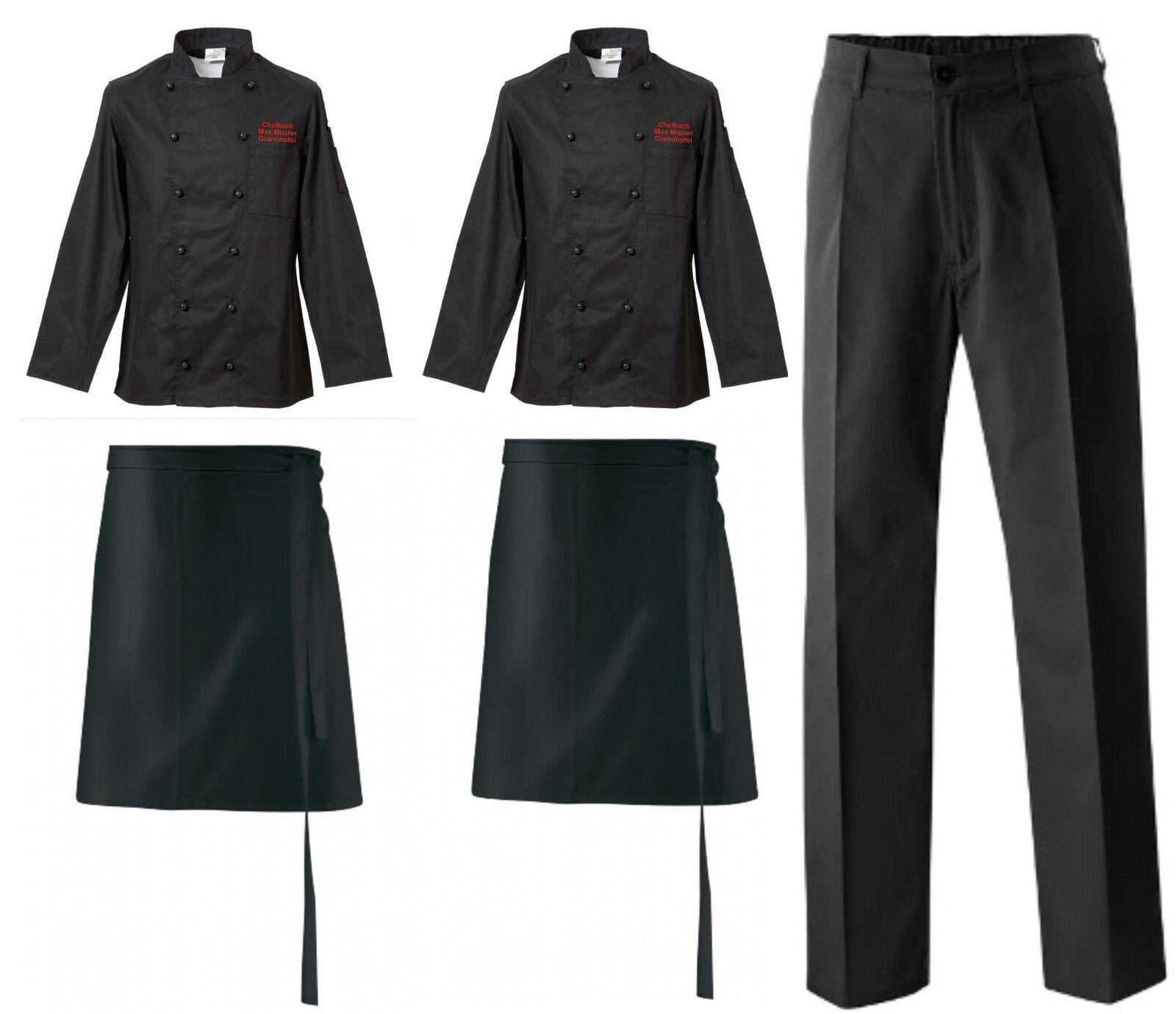 2 chaquetas Koch 2 vorbinder 1 Koch pantalones negros + + + botones bordadas con nombre/texto 58c5b8