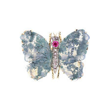 Antique Moss Agate Ruby Rose Cut Diamond Butterfly Brooch
