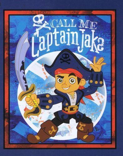 Pirates Springs Cotton Fabric Craft Quilt Cot Panel Disney Captain Jake