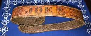 Vintage-Distressed-Tooled-Western-Style-Leather-Belt-Tapered-End-JOE-Name-37-034