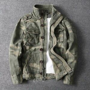 Mens Camouflage Combat Field Jackets Vintage Military Pockets Outdoor Coats fghk