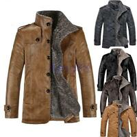 New Men Fleece Winter Warm Jacket PU Leather Fur Parka Trench Coat Outwear UK ##